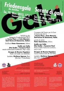 Zweisprachiges Plakat zur FriedensGala 2013